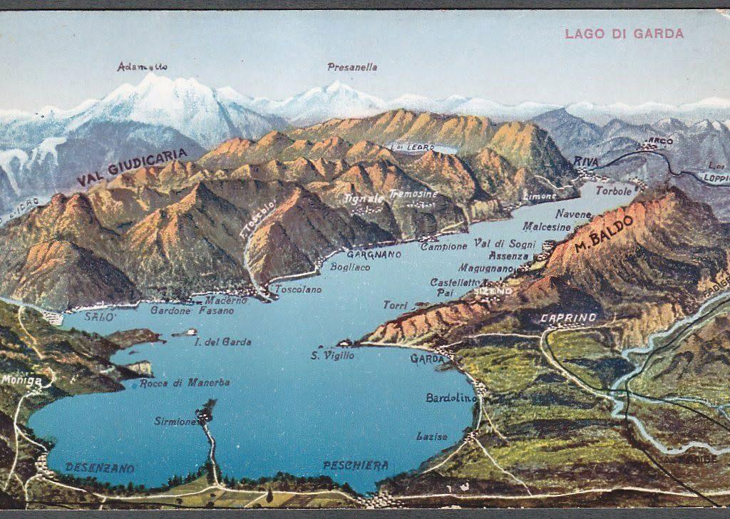Poster storico mappa lago di Garda